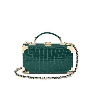 Aspinal of London Trinket Box In Evergreen Patent Croc