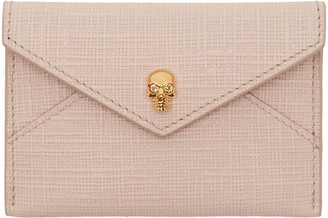 Alexander McQueen Pink & Gold Skull Envelope Card Holder $175 thestylecure.com