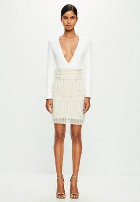 Missguided Nude Striped Pearl Embellished Midi Skirt