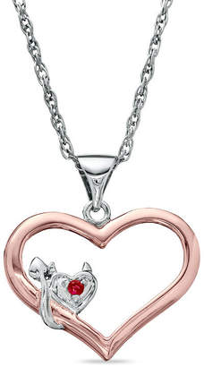Zales Lab-Created Ruby Lil' Devil Heart Pendant in Two-Tone Sterling Silver