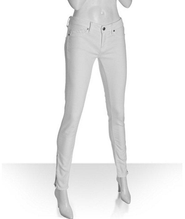 Genetic Denim pale white denim 'James' zipper ankle detail skinny jeans