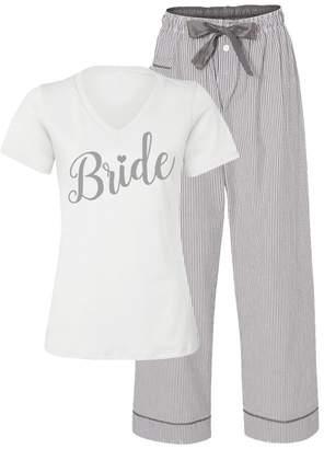 Classy Bride Bridal Pajama Set with Seersucker Pants