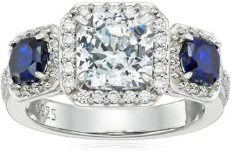 Swarovski Amazon Collection Platinum-Plated Sterling Zirconia 3 Cushion-Cut Halo Antique with Created Blue Sapphire Ring, Size 6
