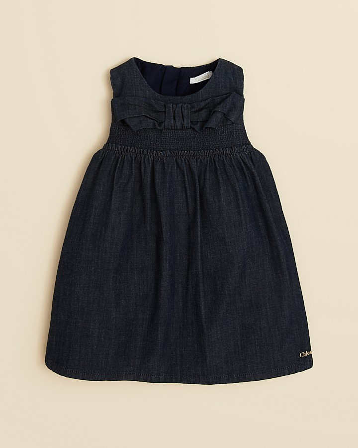 Chloé Infant Girls' Smocked Sleeveless Denim Dress with Bow Front - Sizes 6-18 Months