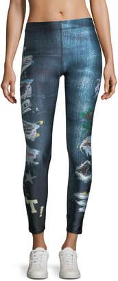 Terez Ripped Jeans Capri Performance Leggings