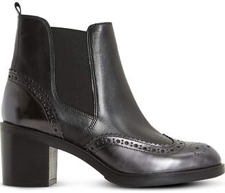 Dune Black Ladies Black Luxury Parke Leather Heeled Chelsea Boots