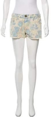 Current/Elliott Floral Patterned Denim Shorts