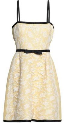 Valentino Bow-Embellished Chantilly Lace Mini Dress