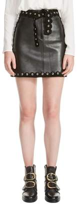 Maje Jarisco Leather Miniskirt