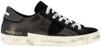 Philippe Model Sneakers Paris Lace-up Sneakers In Laminated Leather And Suede With Glitter Heel