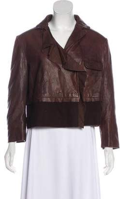 Philosophy di Alberta Ferretti Leather Button-Up Jacket w/ Tags