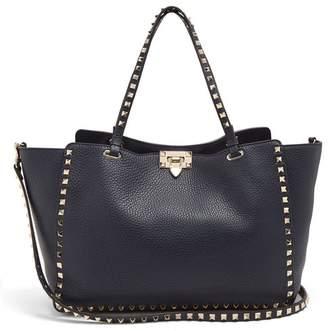 Valentino Rockstud Medium Leather Tote Bag - Womens - Navy