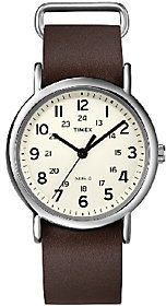 Timex Unisex Weekender Brown Slip Through StrapWatch $49.95 thestylecure.com