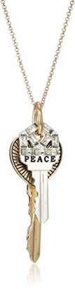 BCBGeneration BCBG Generation Two-Tone 'Peace' and 'Love' Double Key Pendant Necklace