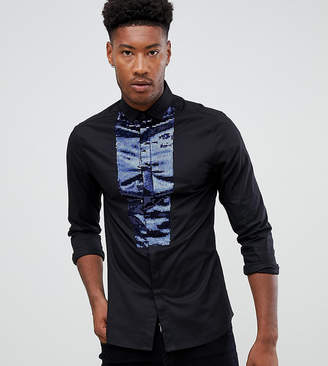 257eaf96ba7e3e Asos Design DESIGN Tall skinny sateen shirt in black with navy sequin bib
