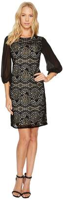 Adrianna Papell Flocked Lurex Lace Mixed Media Long Sleeve Sheath Women's Dress