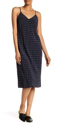 Vince V-Neck Print Silk Dress