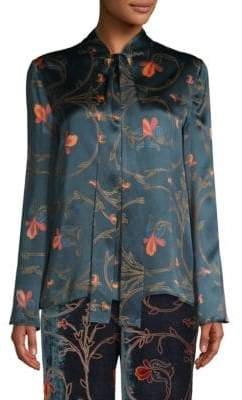 Etro Floral Tie-Neck Silk Blouse