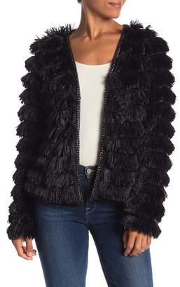 Fate Faux Fur Chain Trim Jacket