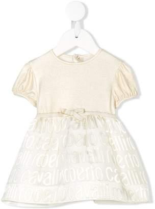 Roberto Cavalli Junior monogram flared skirt dress