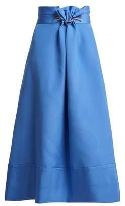 Roksanda Ankena Linen Blend Skirt - Womens - Blue