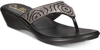 Callisto Sommerville Embellished Slide Thong Wedge Sandals, Created for Macy's Women's Shoes