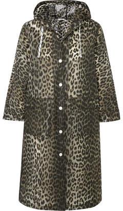 Ganni Leopard-print Matte-pu Coat - Leopard print