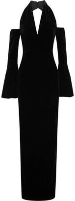 Tom Ford Cold-shoulder Velvet Halterneck Gown - Black