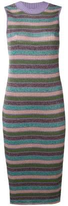 McQ metallic rib knit striped midi dress
