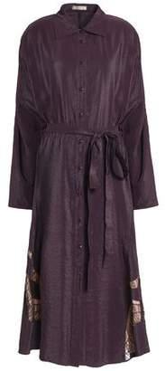 Nina Ricci Lace-Trimmed Textured-Shell Shirt Dress