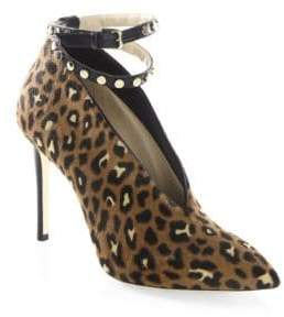 Jimmy Choo Lark 100 Leopard-Print Pony Hair Ankle-Strap Booties