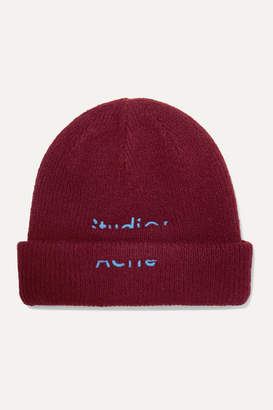 Acne Studios Kreed Sporty Embroidered Wool-blend Beanie - Burgundy