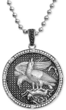"Macy's Men's Diamond Eagle Disc 24"" Pendant Necklace (1/10 ct. t.w.) in Stainless Steel"
