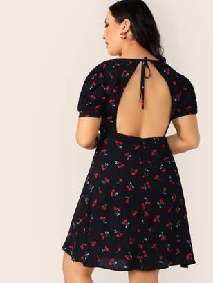 Shein Plus Cherry Print Backless Dress