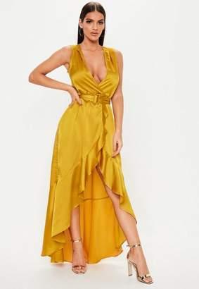 Missguided Mustard Satin Wrap Buckle Maxi Dress