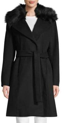 Tahari Fiona Faux Fur-Trimmed Wrap Coat