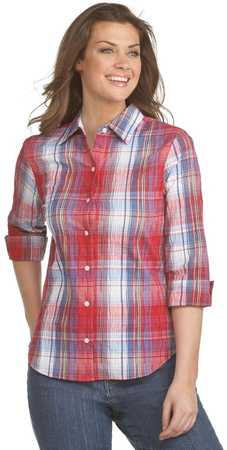 Westbound petites easy-care crinkle plaid shirt