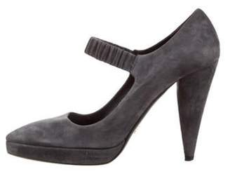Prada Pointed-Toe Mary Jane Pumps Grey Pointed-Toe Mary Jane Pumps