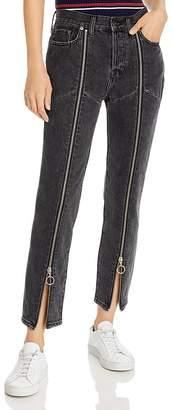Pistola Denim Nico High-Rise Zip Straight-Leg Jeans in Charcoal