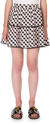 Kenzo Silk Jacquard Scalloped Check Skirt, White