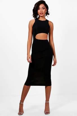 boohoo Tall Cut Out Maxi Slinky Dress