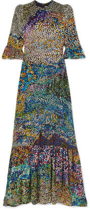 Mary Katrantzou Millais Printed Devoré Silk-blend Maxi Dress - Blue