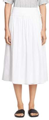 Vince Stitch-Pleated Wrap Midi Skirt, White