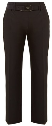Prada Belted Cropped Crepe Trousers - Womens - Black