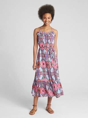 Gap Tiered Ruffle Print Cami Maxi Dress
