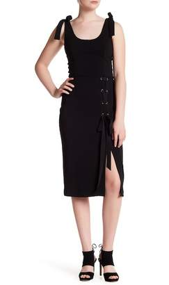 Issue New York Grommet Lace-Up Midi Dress