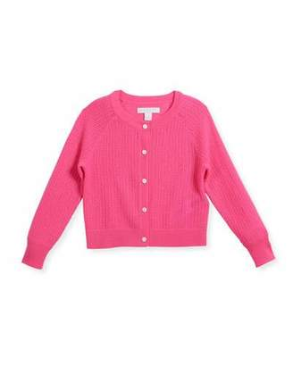 Burberry Flissey Cashmere Knit Cardigan, Pink, Size 4-14