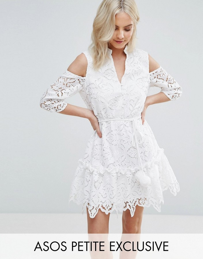 Asos ASOS Petite ASOS PETITE Lace Cold Shoulder Dress with Pom Pom Tie