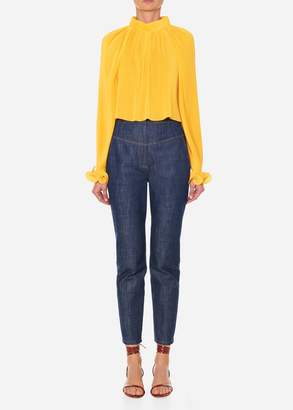 Tibi Pleated Cropped Top