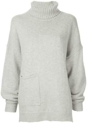 Tibi patch pocket turtleneck sweater